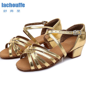 Latin Shoes Square Heel 3.5cm Dance Shoes Red  gold Soft Outsole Dancing Shoes Woman Girls Latino Ballroom Jazz Dance-shoes 201017