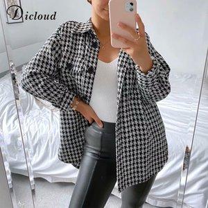 DICLOUD Monochrome Plad Shirt Jacket Women Autumn Pockets Long Sleeve Oversize Long Outerwear Buttons Turn-down Collar Coats 201016