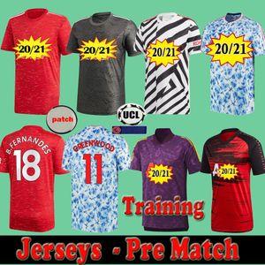 Homme 2020 2021 Utd Soccer Jersey Pre Match Former Travailler Manchester Van de Beek Cavani Fernandes Maguire Diallo Football Shirts 20 21 Homme Kit