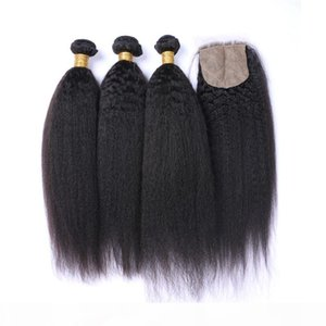 9A mongola dei capelli umani bassa di seta con chiusura diritta crespa 3 pacchi con chiusura Coarse Yaki Tessiture Con Chiusura superiore di seta