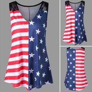 tops T Shirt high quality Fashion American Flag Print Lace Insert V Neck Tank t Shirt summer tops for women 2020MA7