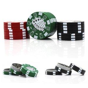 Poker Chip stile 40 millimetri 3 parti smerigliatrice alluminio Tabacco frantoio per Fumatori 3 colori