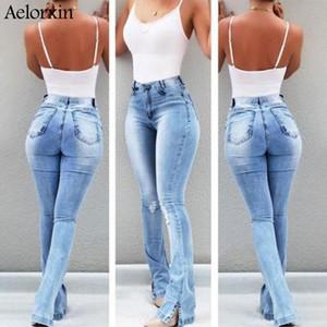 Frauen Jeans Frau 2021 Retro Waschen Elastische Hüften Südamerikanische Stil Wide Bein Flare Plus Size Frauen