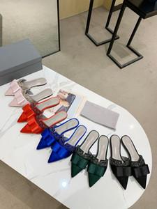 Top Qualität Neueste Designer Leder Beliebte Logo Flache Strass Sandalen Größen 35-42 grün blau schwarz rot