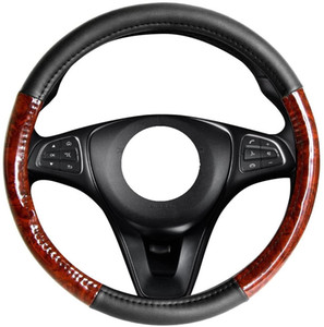 Light Wood Grain Black New 100%Original Artificial Leather Car Steering Wheel Cover Fits Universal 38cm 15inch Middle Size
