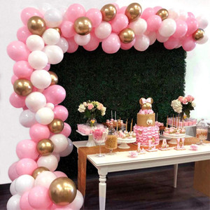 117pcs Pink White Gold Latex Balloons Pack For Girl Baby Shower Bachelorette Birthday Party Decorations Balloon Garland Arch Kit T200624