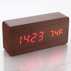 الإبداعية الإلكترونية على مدار الساعة أدى ساعة خشبية التحكم الصوتي الساعات الرقمية usb خشبية السرير المنبه ديكور المنزل BH4294 WXM