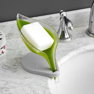 Bathroom Creative Drenal Folha Soap Box Nenhum Soap Soap Caixa de Sucção Armazenamento Vertical Manual Suporte