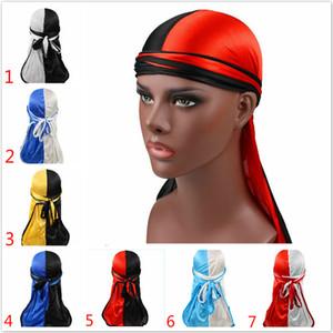2020 New Fashion Men's Double Color Satin Durags Bandana Turban Wigs Men Silky Durag Headwear Pigtail Pirate Hat