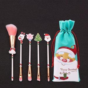 Christmas Makeup Brushes Set Christmas Gifts Kit Beautiful Make Up Brush Tools With Drawstring Santa Claus Print Bag Xmas Gift XD24077
