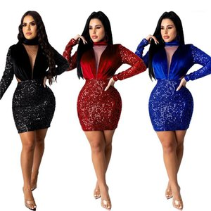Dress Autumn Warm Thick Panelled Gauze Sequins Mini Dresses Fashion Casual Female Clothing Womens Designer Party