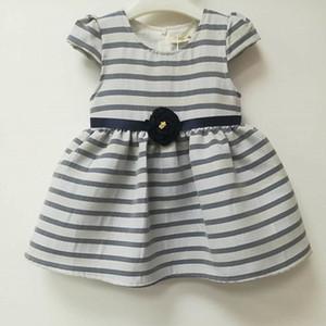 Hot new round neck striped flower waist design princess dress holiday party party evening dress girl dress