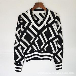Señoras Sweater Crew Cuello de la tripulación Pull de Luxe Puentes para mujer CashMere Imprimir Cuello redondo Pullover Mujeres Suéteres de gama alta otoño e abrigo de invierno