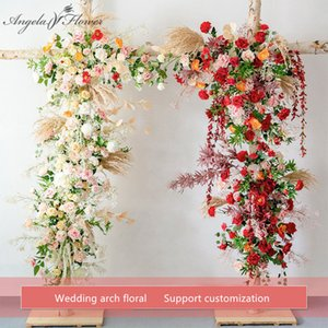 Custom Wedding arch decor flower arrangement table flower ball centerpieces floral party stage outdoor scene layout flower wall
