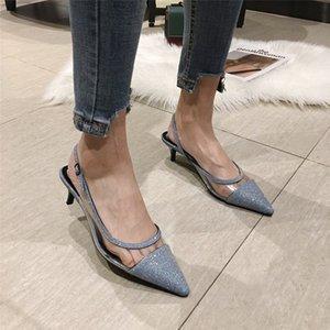 Elegant Bling Dress Shoes Spring New Fashion Transparent PU Kitten Heels Back Strap Sandals Shoe Lady Pumps Pointed Toe