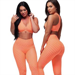 Women Racerback Fitness Sport suit Hight Waist Sports Bra Two Piece Jacquard Leggings ankle length padded tracksuit
