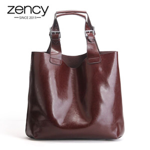 ZENCY 100% Echtes Leder Retro Braun Frauen Handtasche Dame Große Tasche Laptop Klassische Kaffee Weibliche Umhängetaschen Einkaufsbügel