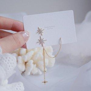 Korean Trendy Double Design Oreilles Étoile Tassel Oreilles Boucles d'oreilles Charme Lumière Bling Zircon dormeuses Pendentif mariage de bijoux