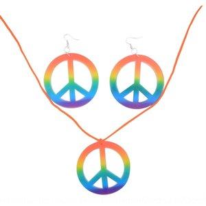 nx2Ks Cadılar Bayramı hippi karnaval ve renkli düz kolye seti düz Topu takım küpe Prop Earrings sahne top kostüm ve Iss8J