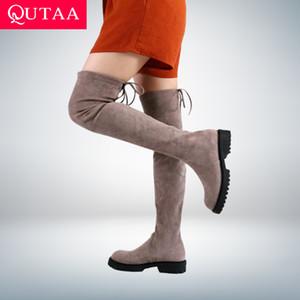 Knee Boots Stretch Flock Lace Up Casual Uzun Çizme Kare Topuk Sonbahar Kış Yuvarlak Burun Kadın Ayakkabı Size34-43 C1023 Üzeri QUTAA 2021