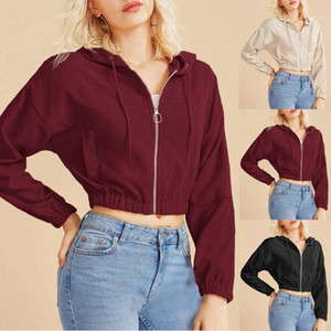 Sexy Zipper Hoodies Corduroy Sweatshirt Women Crop Jacket Casual Solid Long Sleeve Pocket Shirt Thin Short Tops Ropa Mujer1