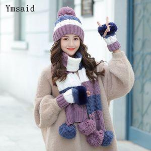Woman Winter Hats Fashion Woolen Hat Scarf Gloves Set Sweet Girl Hat Scarfs Sets For Female Warm Knitted Hat 201026