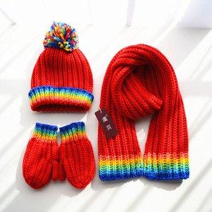 Niños bufanda sombrero guantes 3 en 1 de alta calidad arco iris hilado de punto niño niña suave cálido invierno mantón lindo encantador regalo para niño bebé F1218