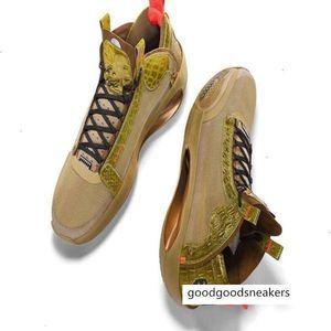 2020 Jumpman Xxxiv 34 Pe Bayou Boys Zion Williamson Brown Gold Men Basketball Shoes with Box Size 40-46
