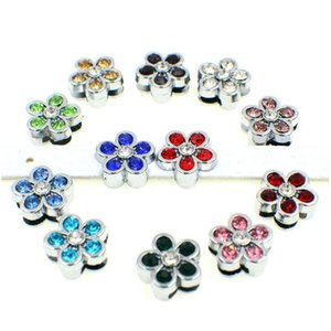 12 unids 8 mm Rhinestone Flower Slide Charms Fit DIY 8mm PET PET COLLAR CINTURS Cinturones Llavero Muñequeras Tags J12FG