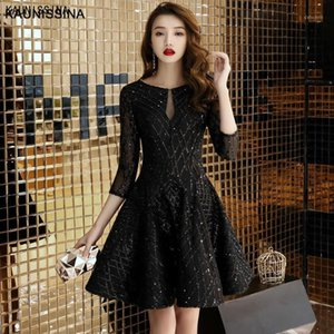 KAUNISSINA A-Line Cocktail Dress Sequins Black Party Gown 3 4 Sleeve Short Banquet Party Prom Dresses Homecoming Robes1