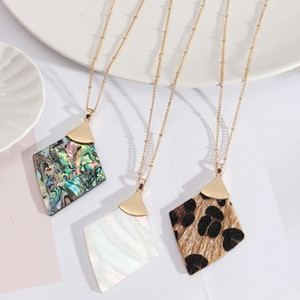 Snakeskin Cheetah Leopard Leather Triangle Pendant Long Necklace Women Gold Beads Link Chain Rhombus Geometric Statement Moroccan Necklaces