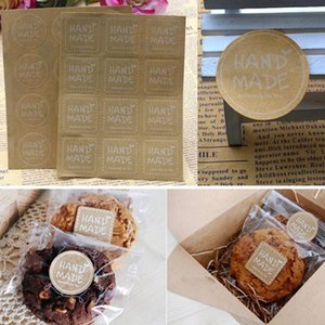 """120pcs """"HANDMADE"""" Round Square Stickers Merry Christmas Gift Packing Kraft Paper Label, For Baking Package Box   Bags   Label"""
