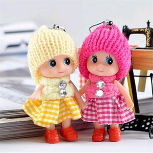 Cute 8CM Kids Girls Toys Soft Interactive Squishy Baby Dolls Dress Toy Key Chain Mini Doll Keychain For Girls Key Ring Key Holder