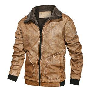 Men's Fur & Faux Winter Mens PU Thick Warm Motorcycle Jacket Fashion Windproof Leather Coat Male EU Size 3XL J6T864