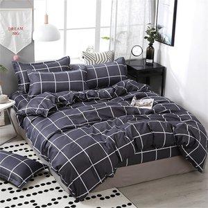 3 4pcs Set Geometric Pattern Cotton Comforter Bedding Set Black Bed Linen Duvet Cover Set Grey No Filler Home Textile LJ200818