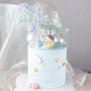 1 pc Cake Topper Cute Star cake Decorations Happy Birthday lace Insert Card Dessert Cupcake Toppers For Birthday Decor