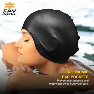 Élastique étanche Natation Cap Tapis Sports Long Hair Couvre-Couvre Protégez le chapeau de piscine antidérapante pour le silicone adulte CAP1