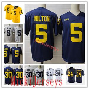 رجل NCAA ميشيغان ولفرينس جو ميلتون كرة القدم جيرسي مخيط 3 A.J. هينينج 24 زاك Charbonnet 30 Daxton هيل ميشيغان جيرسي S-3XL