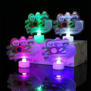 Trendy LED Christmas Decorations Flashing Light Up Quarantine Christmas Trees Ornament 2020 Family of 3 Face Mask Lamp Ornaments E101204