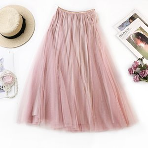 2021 Nuevo Sherhure Verano Malla falda de cintura alta A-Line Pink Midi Jupe Femme Mujeres Falda larga Saia K1WG