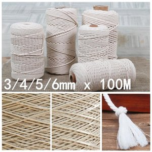 1pc Natural 100% Cotton Twisted String Cord 3 4 5 6mm 100M Macrame Artisan String Rope For DIY Tapestries Knitting Home Decor1