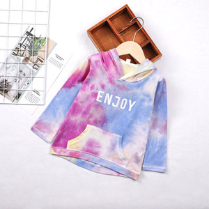 Girls Tie-dyed Hooded Tops Fall 2020 Kids Clothes for Boutique 1-5T Girls Long Sleeves Letter Hoodies Sweatshirts