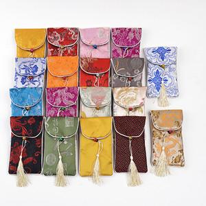 2ST Hals Seil Handy-Beutel-Kasten-Blumen-Glas-Abdeckung Schmuck Lagerung Weihnachtsfest-Bevorzugungen Chinese Silk Beutel des Brokat 1027