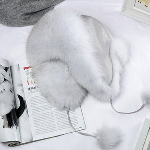 Rússia Mulheres New Style Inverno real genuíno Fox Fur Hat 100% Ears Natural real Fox Fur Cap suave e quente real da pele de Fox Bomber Chapéus 201019