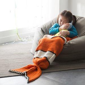Crianças 70x140cm Mermaid Blanket tricô cobertor do bebê crianças Fotografar Props Sofá lançar cobertor Nemo Costume peixes do sono Bolsa AECL