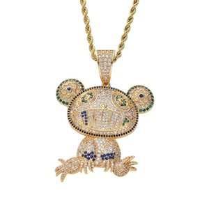 New high quality hip hop personality pendant coloured frog bronze Zircon Necklace