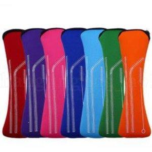 Cannucce Imposta acciaio inossidabile colorato di paglia del metallo con la copertura inserti in silicone capo silicone Bocca Diving Suit Borse Outdoor CCB2188
