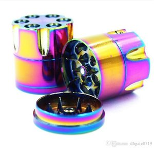 Revolver Metal tobacco dry herb Grinder Rainbow 3parts Mini Bullet Grinder use for tobacco pipe and Ash catcher-30mm