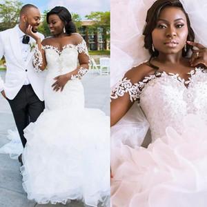2021 Plus Size Mermaid Wedding Dresses Long Sleeves Lace Applique Sheer Neck Jewel Ruffles Sweep Train Wedding Gown Vestido de novia