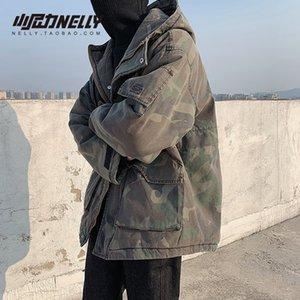 Любители зимнего зеленый военный камуфляж с хлопком куртка полупальто улицы рыхлой и плотным хлопком проложенных одеждами мужчину и женщины